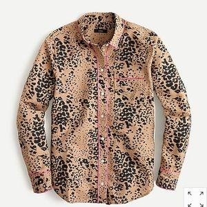NWT J. Crew Button-up shirt in leopard print !